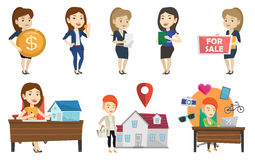 Vector set of real estate agents and house owners. Stock Image