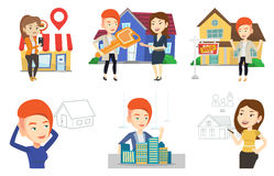 Vector set of real estate agents and house owners. Stock Images