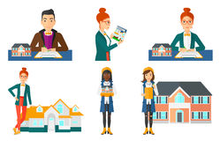 Vector set of real estate agents and house owners. Royalty Free Stock Photography