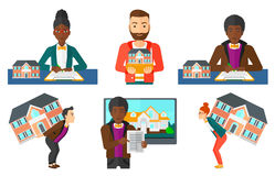 Vector set of real estate agents and house owners. Royalty Free Stock Photo