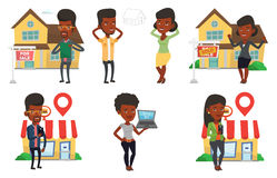 Vector set of real estate agents and house owners. Royalty Free Stock Image