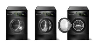 Vector set of realistic black washing machines. Vector set of 3d realistic black washing machines, compact washer with front-loader, with open and closed door royalty free illustration