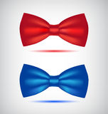 Vector set of realistic blue and red bow ties Royalty Free Stock Photos