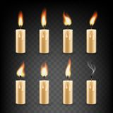 Vector realistic candle with fire animation icon set Royalty Free Stock Photos