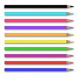 Vector set of 10 realistic colored pencils. Vector set of realistic colored pencils isolated on white background. Pencils of red, orange, yellow, green, blue vector illustration