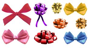 VECTOR set of realistic colorful bows. Isolated on white Stock Image