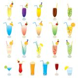 Vector set of realistic, colorful cocktails, fruit juices, alcohol drinks and Mojito cocktails, isolated. On white background. Illustration for design stock illustration