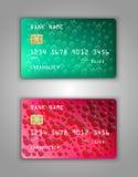 Vector set Realistic credit bank card mockup. Dollar, heart, sign, halftone, red, pink, scarlet, green Stock Images