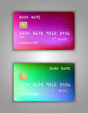 Vector set Realistic credit bank card mockup. Multicolor, rainbow, overflow pink, lilac, blue, green, red, rainbow, gradient, mesh Stock Images