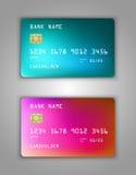 Vector set Realistic credit bank card mockup. Pine, viridan, aquamarine, red, green Halfton stock illustration