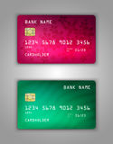 Vector set Realistic credit bank card mockup. Pink, red, green, halftone, waves, flowers, petals, eco, glamorous Stock Image