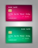 Vector set Realistic credit bank card mockup. Pink, red, green, pine, viridan, aquamarine, amerald. Royalty Free Stock Photo