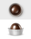 Vector Set of Realistic Dark Black Bitter Chocolate Candies in White Glossy Corrugated Papper Wrapper Royalty Free Stock Images