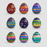 Vector set of realistic easter eggs isolated on transparent background. Royalty Free Stock Image