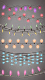 Vector set of realistic garlands christmas glowing light Royalty Free Stock Images