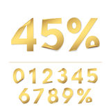 Vector set of realistic gold paper numbers for design of sale banners and discounts offers. Isolated from the background Stock Images