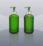 Vector set. Realistic, green, transparent bottles with soap pump Stock Photography