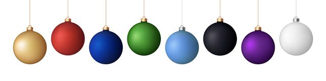 Vector set of 8 realistic New Year/ Christmas matt balls/decorations royalty free stock images