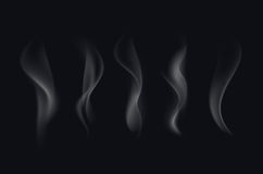 Vector Set of Realistic White Transparent Cigarette Smoke Waves Isolated Royalty Free Stock Photos