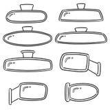 Vector set of rear view mirrors. Hand drawn cartoon, doodle illustration stock illustration