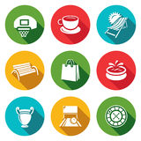 Vector Set of Recreation and Entertainment Icons. Sport, Food, Tourism, Stroll, Shopping, Park, Art, Bowling, Casino. Stock Photos