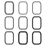 Vector set of rectangular black monochrome rope frame. Work. Collection of thick and thin borders isolated on white background, consisting of braided cord. For Stock Photography