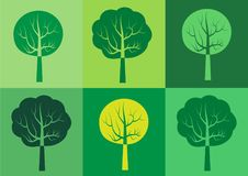 Vector set of rectangular tree silhouette icon. Templates for organic products and packaging, symbols for ecology and environmental brochures Stock Photography