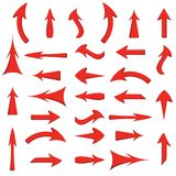 Vector set of red arrows Stock Photos