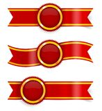 Vector set of red award ribbons Stock Photo