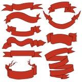 Vector Set of Red Cartoon Ribbons Royalty Free Stock Image