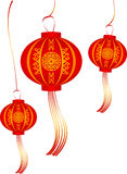 Vector set of red Chinese lanterns circular shape Royalty Free Stock Photography