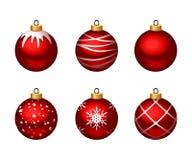 Set of red Christmas balls. Vector illustration. stock illustration