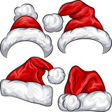 Vector Set Red Christmas Santa Claus Hats Royalty Free Stock Photography