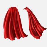 Vector set of red cloaks, flowing silk fabrics. Vector realistic set of red cloaks, flowing silk fabrics isolated on white background. Satin wavy materials vector illustration