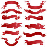 Vector set of red gradient ribbons for your text Stock Image