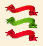 Vector set of red and green festive ribbons. The vector set of red and green festive ribbons Stock Image