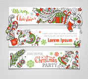Vector set of red, green and white Christmas banners. Royalty Free Stock Photos