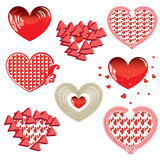 Vector set of Red Hearts Stock Image