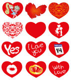 Vector set. Red hearts. Royalty Free Stock Photo