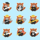 Vector set of red pandas various professions: Scientist, accountant, teacher, Royalty Free Stock Image