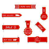 Vector set of red price tags, labels, stickers, arrows and ribbons. Isolated on white. Set of red price tags, labels, stickers, arrows and ribbons. Isolated on Stock Photo