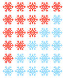 Vector set of red rating snowflakes over white. Stock Photo