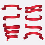 Vector set of red ribbons stock image