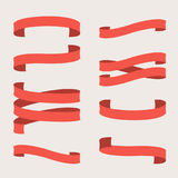 Vector set of red ribbons Stock Photo