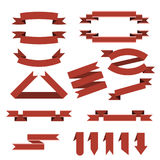 Vector set of red ribbons,bookmarks in flat style Royalty Free Stock Image
