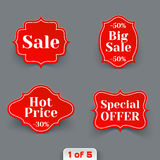 Vector Set of Red Sale Paper Retro Labels. Stock Photos