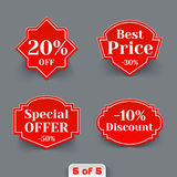Vector Set of Red Sale Paper Retro Labels. Royalty Free Stock Image