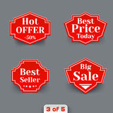 Vector Set of Red Sale Paper Retro Labels. Stock Photography