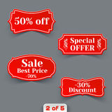 Vector Set of Red Sale Paper Retro Labels. Stock Image