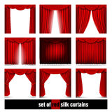 Vector set of red silk curtains with light and shadows of the open and closed Royalty Free Stock Image